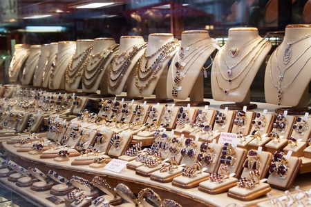 counter with variety of jewelry in store window Stock Photo - 11458816