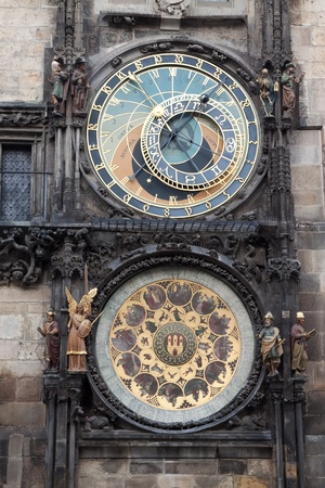 Medieval Astronomical Clock in the Old Town hall of Prague.  Czech Republic photo