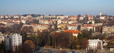czechia: Panorama of historical residential district in Prague, Czechia Stock Photo