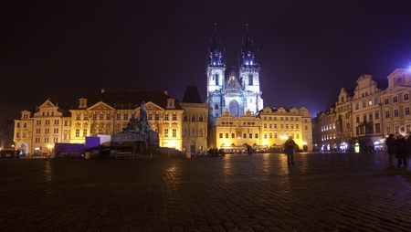 czechia: Night view of Old Town Square. Prague, Czechia