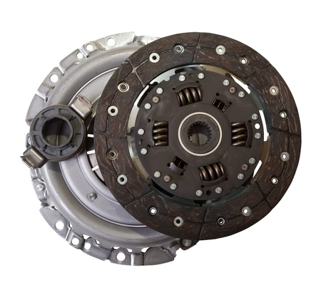 auto parts - automotive engine clutch. Isolated on white  photo