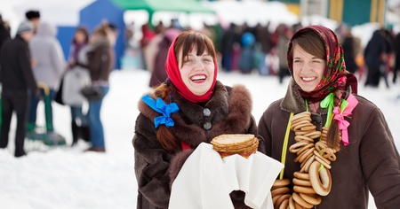sudarium: Young women with pancake during  Shrovetide at Russia