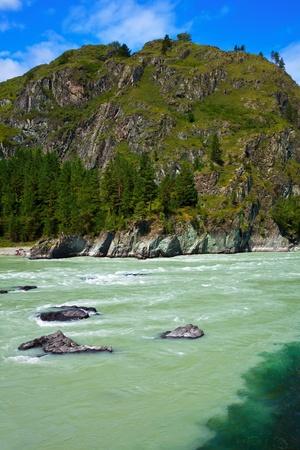 katun: Mountains river with rocky riverside.  Katun, Altai, Siberia
