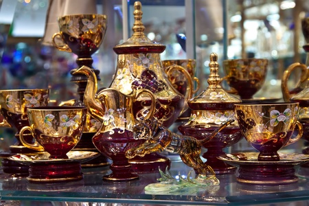 14k: counter with bohemian glass in store window