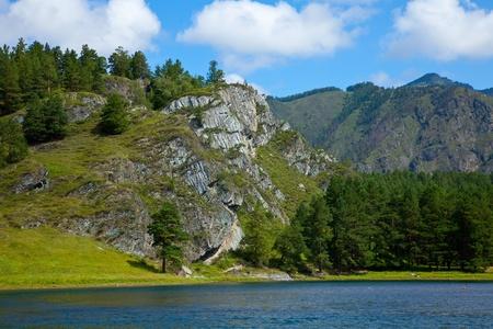 chemal: Mountain lake in Chemal, Altai, Siberia  Stock Photo