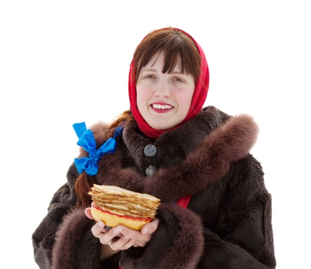 sudarium: Woman in fur coat with pancake. Isolated over white