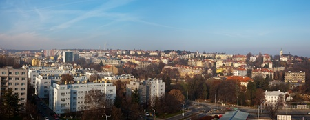 czechia: Panorama of historucal residential district in Prague, Czechia