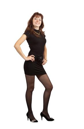 short cut: full length shot of beauty girl in black dress over white background
