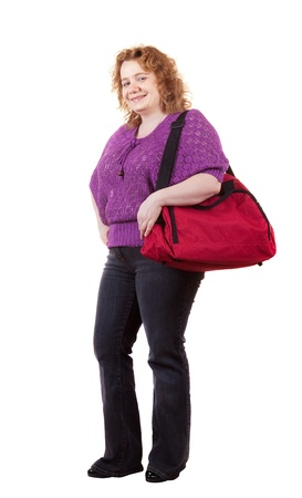 unbeautiful: Overweight woman with bag. Isolated over white background