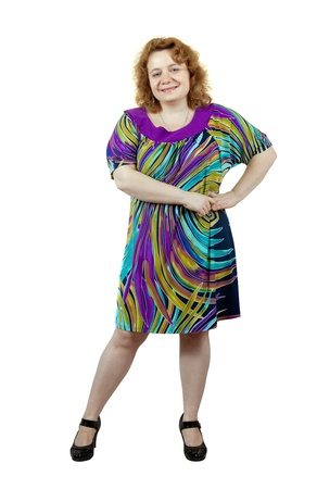 unsightly: Overweight woman. Isolated over white background Stock Photo