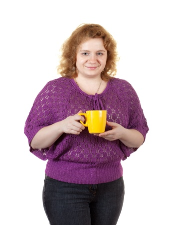 unattractive: Overweight woman with tea cup. Isolated over white background