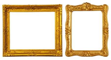2 objects: Set of two gold frames. Isolated over white background with clipping path