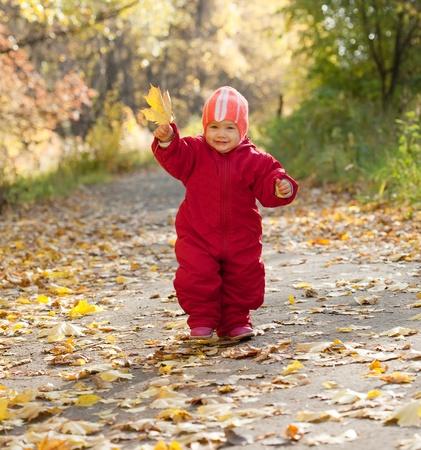toddler walking: Happy toddler walking  in autumn park