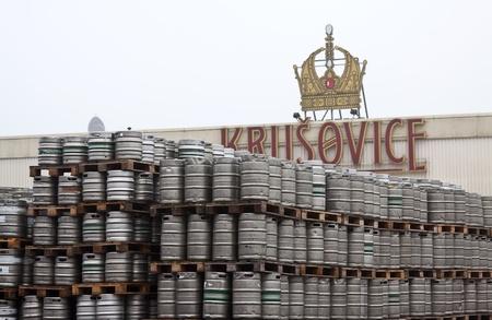 kegs: KRUSOVICE, CZECHIA - NOVEMBER 23:  Beer kegs in rows at Krusovice Brewery  on November 23, 2011 in Krusovice, Czechia.In 2006 the company sold 700 thousand hectoliters of beer