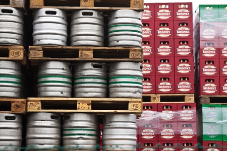 KRUSOVICE, CZECHIA - NOVEMBER 23:  Beer kegs in rows at Krusovice Brewery  on November 23, 2011 in Krusovice, Czechia.In 2006 the company sold 700 thousand hectoliters of beer