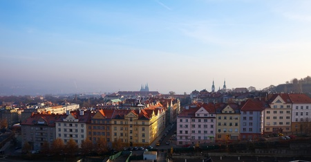 view of historucal residential district in Prague, Czechia photo
