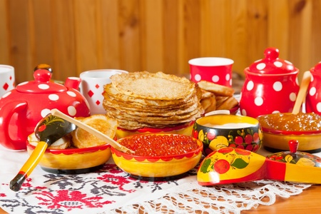 Russian Shrovetide table - pancake with caviar and tea Stock Photo - 11883178