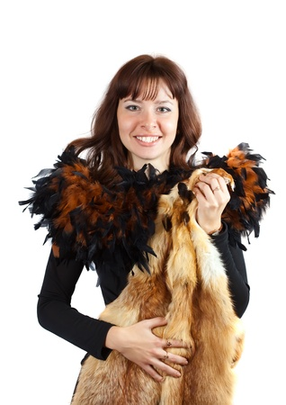 fox fur:  glamour portrait of  girl in feathers clothes  girl with fox fur