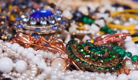 differently: Close up of many differently jewellery background Stock Photo