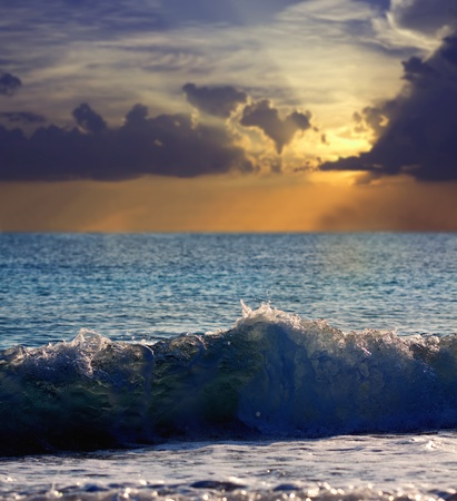 Sea wave during storm in sunset time Stock Photo - 11938970