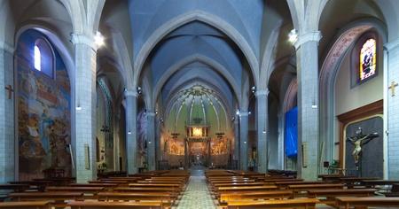 Interior of  St. Mary catholic church  at Blanes.   Catalonia. Spain Stock Photo - 11925216