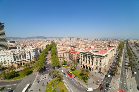 Wide angle shot of  Barcelona from Columbus statue. Spain