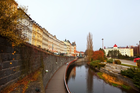 karlovy vary: KARLOVY VARY, CZECHIA - NOVEMBER 25:  View of Karlovy Vary on November 25, 2011 in Bohemia, Czechia.Town is historically famous for its hot springs (13 main springs, about many smaller springs, and the warm-water Tepla River)