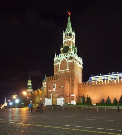 Spasskaya Tower of Moscow Kremlin at Red Square in Moscow. Russia photo