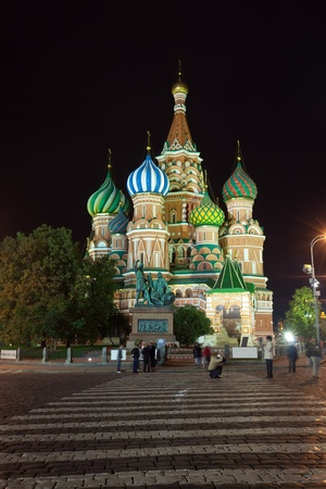 kremlin: Intercession Cathedral at Red Square in night. Moscow, Russia Stock Photo