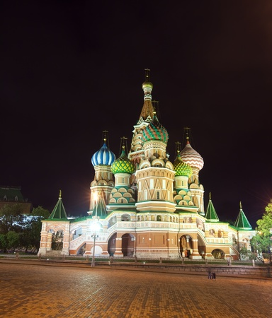 Intercession Cathedral at Red Square in night. Moscow, Russia photo