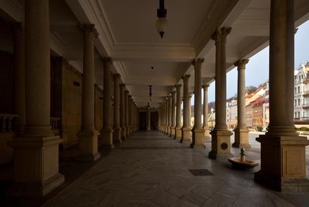 karlovy: Colonnade around  warm-water mineral spring in Karlovy Vary