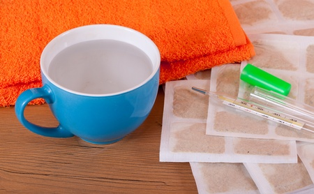 mustard leaf: mustard leaf with towel and water is ready for use Stock Photo