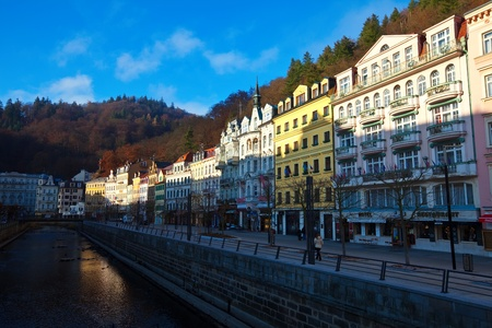 KARLOVY VARY, CZECHIA - NOVEMBER 25:  View of Karlovy Vary on November 25, 2011 in Bohemia, Czechia.Town is historically famous for its hot springs (13 main springs, about many smaller springs, and the warm-water Tepla River)