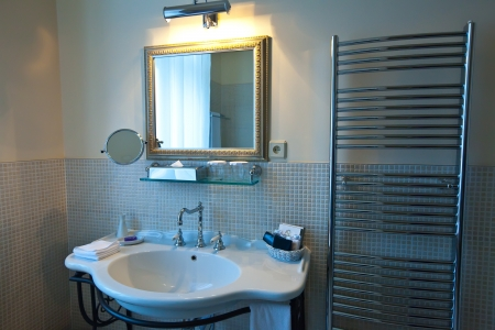 Interior of bathroom with mirror photo