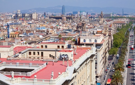 Top view of Barcelona from  Columbus Statue. Spain photo