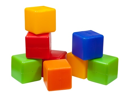 Plastic toy blocks on white background Stock Photo - 12077118
