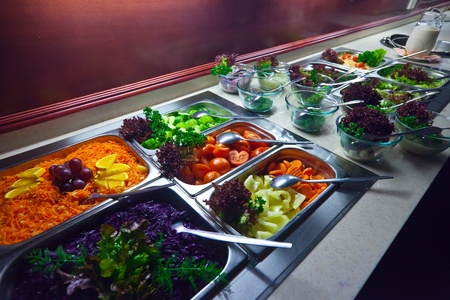 vegetables in trays  at buffet
