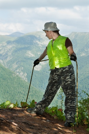 Climber belay partner on top forest mountains Stock Photo - 12077201