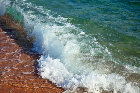 sputter:  sea wave at sand beach in sunny day