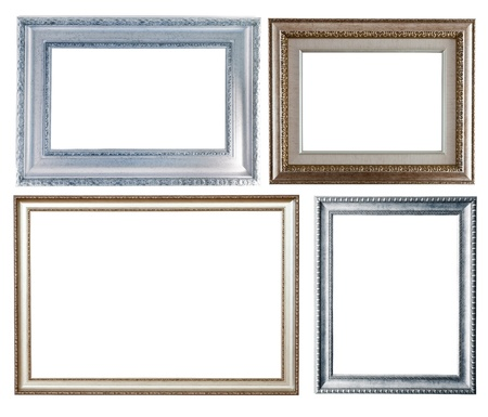 Set of few silver frames. Isolated over white background with clipping path photo