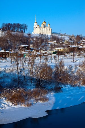 klyazma: View of Vladimir downtown from river side in winter, Russia Stock Photo