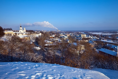klyazma: View of Vladimir downtown in winter, Russia