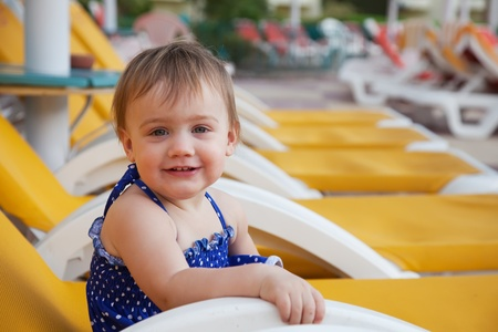 Happy toddler at resort hotel area Stock Photo - 12238387