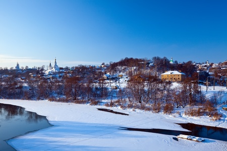 klyazma: View of Vladimir downtown from river in winter, Russia Stock Photo