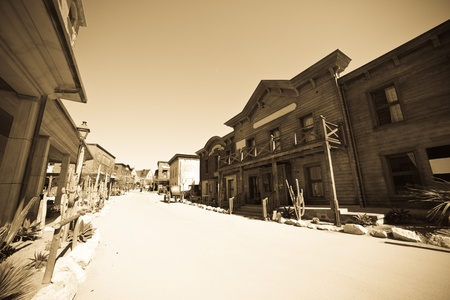 Wide angle vintage photo of Far west town photo