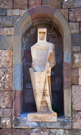 Saint George by Pablo Picasso - detail of Santa Maria de Montserrat monastery. Catalonia, Spain