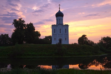 intercession: Church of   Intercession on the River Nerl in dawn Stock Photo