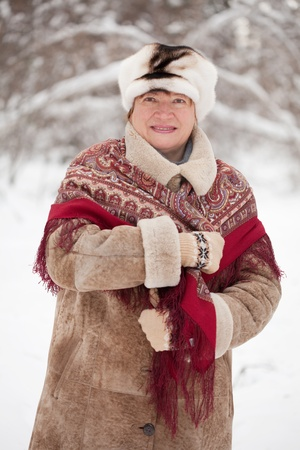 sudarium: Outdoor wintry portrait of mature woman with  kerchief in winter