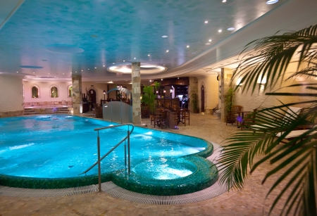 indoor: Luxury swimming pool in spa hotel