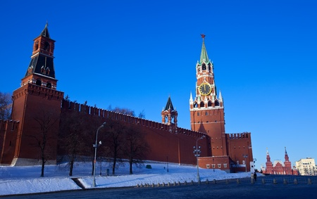 spassky: Towers at Moscow Kremlin in winter. Moscow, Russia